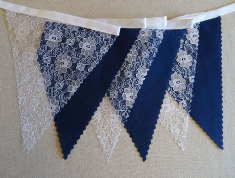 BUNTING - Plain Navy Blue & White Floral Lace - 3m, 5m or 10m